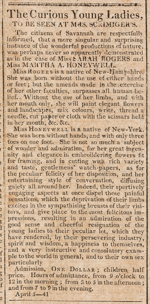 """""""The Curious Young Ladies."""" April 5, 1808. The Republican; and Savannah Evening Ledger (G.A.). American Antiquarian Society. https://www.americanantiquarian.org/"""