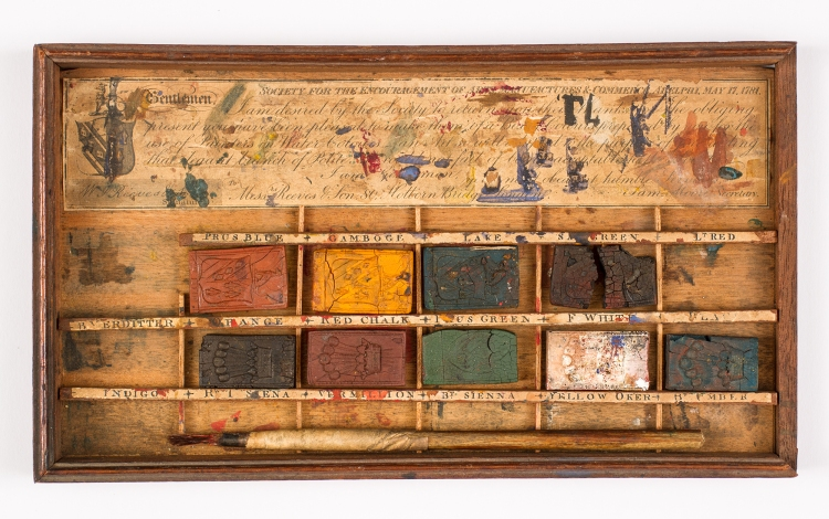 W. J. Reeves & Son. Paint Box. 1819-1827. Wood, paper, paint. Albany Institute of History & Art: Gift of Marion Gifford Shaw. https://www.albanyinstitute.org/