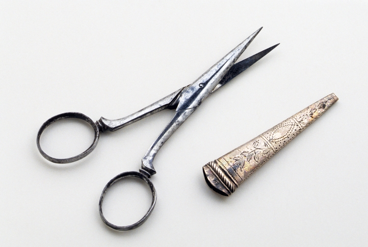 Unknown maker. Scissors and sheath. 1800-35. England, United Kingdom. Iron, silver and steel. Museum purchase with funds provided by The Embroiderers' Guild of America: Courtesy of Winterthur Museum. 1990.0031 A, B. https://www.winterthur.org/