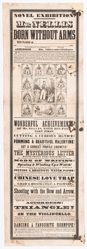 Object label: Saunders Ken Grems Nellis. Broadside: Novel exhibition! 1847-1849. Ink on paper. American Antiquarian Society. https://www.americanantiquarian.org/