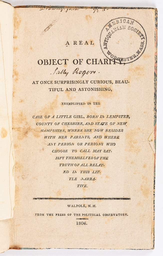 Title Page of A Real Object of Charity. 1806. Ink on paper. American Antiquarian Society. https://www.americanantiquarian.org/
