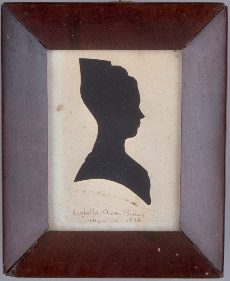 Martha Ann Honeywell. Silhouette of Isabella Ann Bishop. 1826. Cut black paper on off-white paper with inscriptions in brown ink. Colonial Williamsburg: Gift of Mary B. and William Lehman Guyton. https://www.colonialwilliamsburg.org