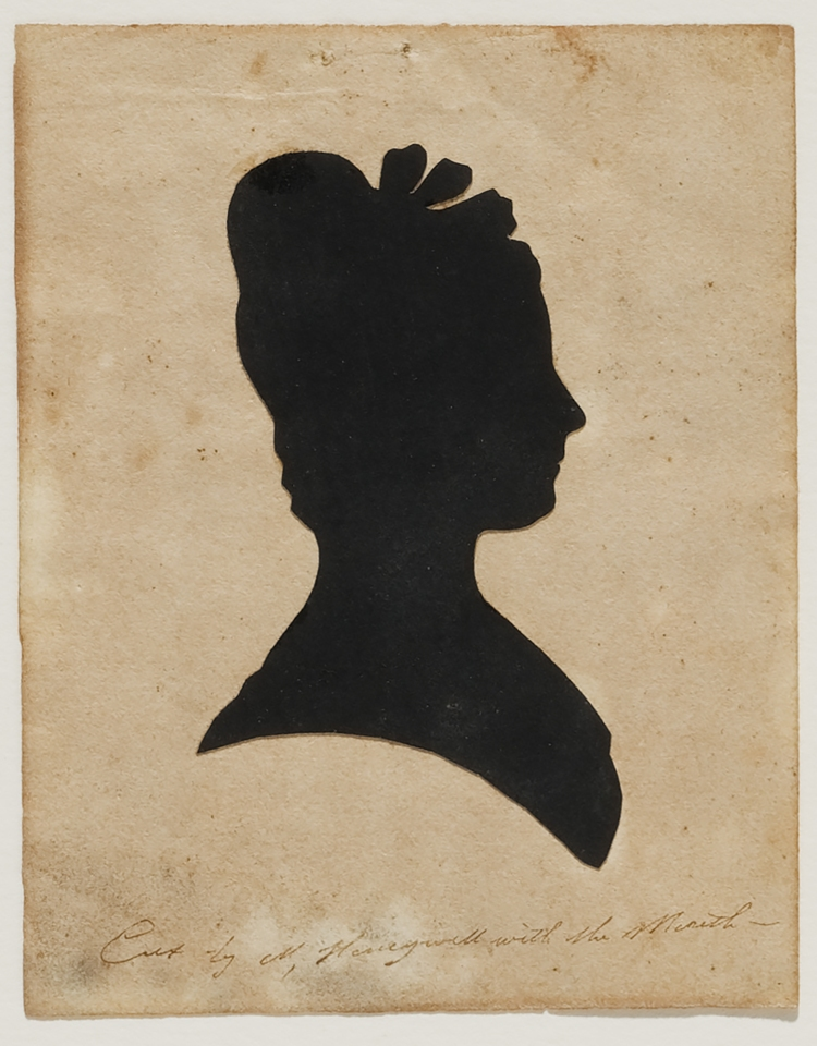 Silhouette of elegant woman with hair bows.
