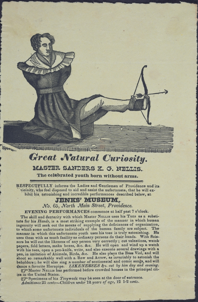 """Advertisement - Illustration of Nellis shooting an arrow with his foot. """"Great Natural Curiosity"""""""