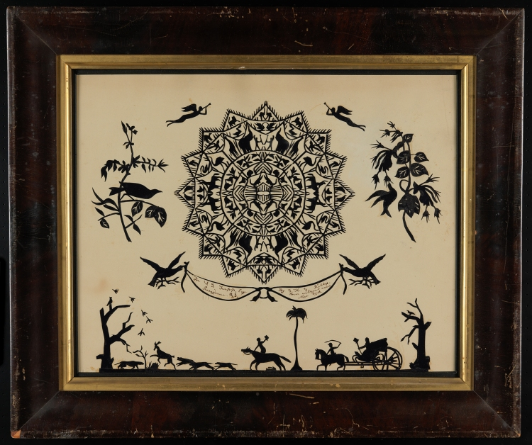 Papercut of fox hunt, birds with flowers