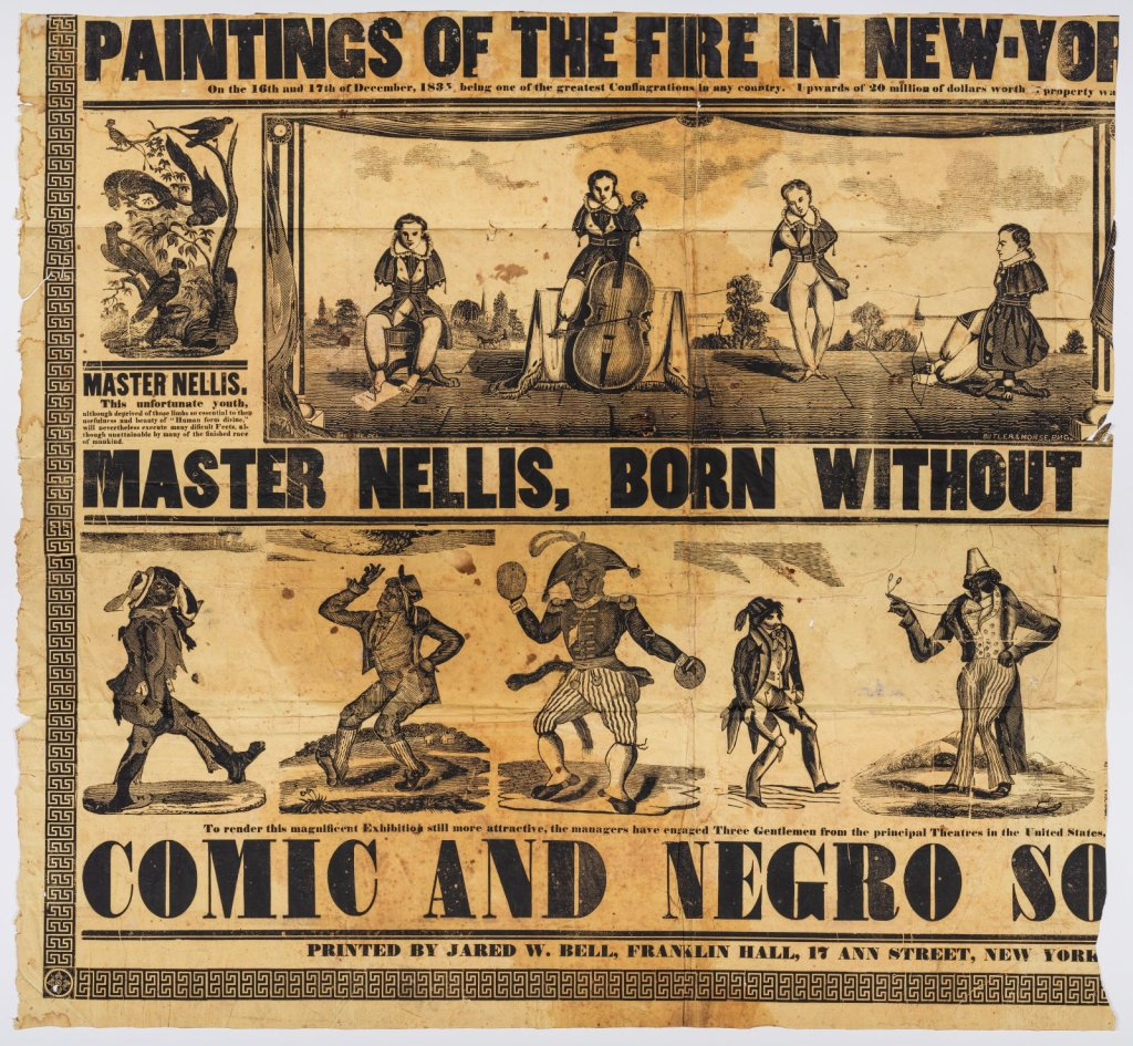 """Broadside of Nellis playing cello, shooting arrow, dancing, and writing with his feet. Text reads """"Master Nellis, Born Without"""" Below it says """"Comic and Negro"""" with illustrations of dancing figure with face of monkey."""