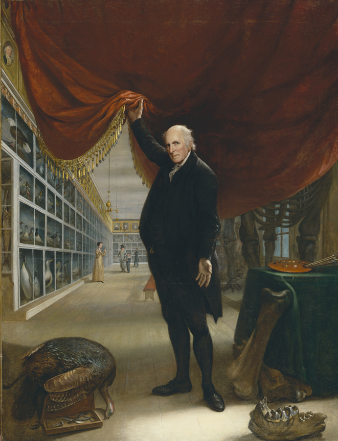 Painting of Charles Wilson Peele, holding back curtain.