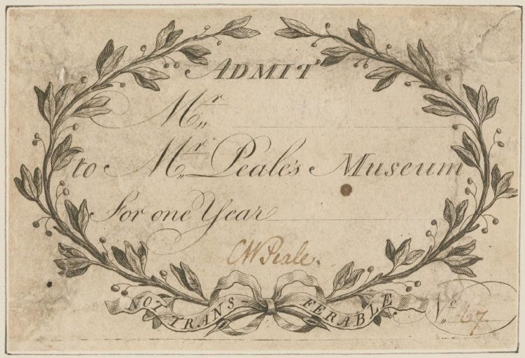 Admission ticket to Mr. Peale's Museum.