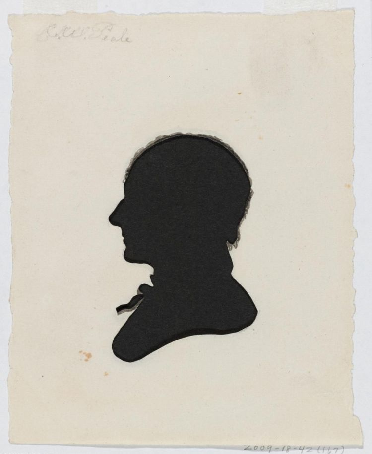 Hollow cut silhouette of man.