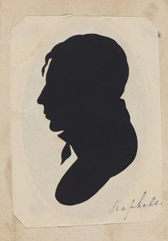 Silhouette portrait of man with high collar and tie.